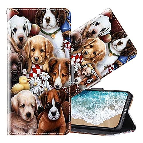 Cherfucome Funda para Xiaomi Mi Mix 2 Carcasa Libro Flip Case Magnético Funda de Cuero PU Carcasa Xiaomi Mi Mix 2 Funda Móvil Case Flip Leather Wallet [B02*Perros]