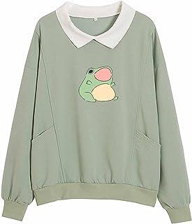 پیراهن KIEKIE COMO Frog Graphic Aesthetic Oversize Clothes Potto Pullover Feminino Hoodies with Pocket Kawaii