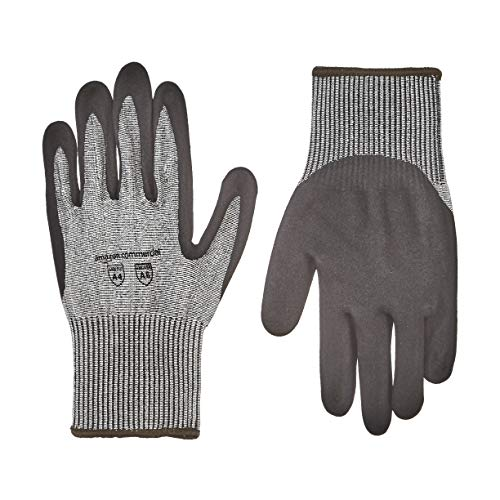 AmazonCommercial 13G HPPE Cut Resistant Liner & Nitrile Gloves (Salt & Pepper/Black), Size L, 1 Pair