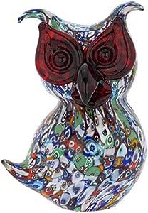 GlassOfVenice - Escultura de cristal de Murano Millefiori búho
