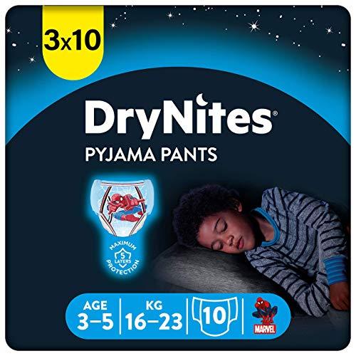 Huggies DryNites hochabsorbierende Nachtwindeln bei Bettnässen, für Jungen 3-5 Jahre, 3 x 10 Stücke, Halb-Monatspack