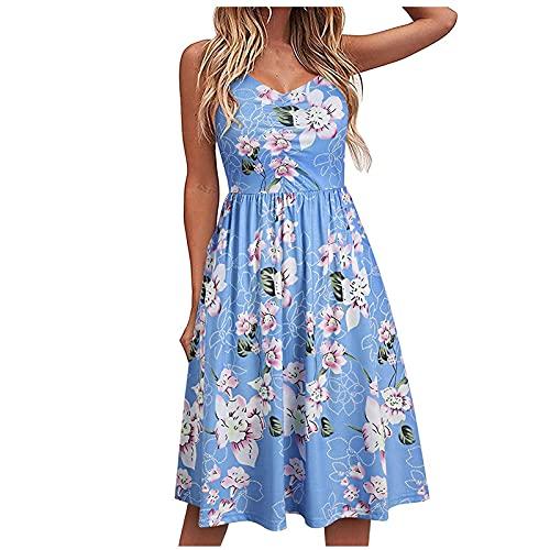 Sommerkleid Damen Knielang Kleider A-Linie Minikleid Ärmellos V-Ausschnitt Blumendruck Kleider Böhmische Strandkleid Damen Sommer Lang Casual Hohe Taille Abendkleid