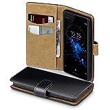 TERRAPIN, Kompatibel mit Sony Xperia XZ2 Compact Hülle, Handy Leder Brieftasche Hülle Tasche mit Standfunktion Kartenfächer - Schwarz mit Hellbraun Interior