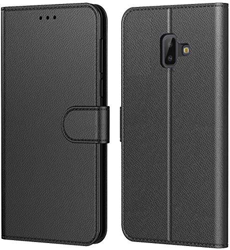 Tenphone Etui Coque pour Samsung Galaxy J6 Plus 2018, Protection Etui Housse en Cuir Portefeuille,[Livre Horizontale],[Emplacements Cartes],[Fonction Support],pour (Galaxy J6+ (6,0 Pouces), Noir)