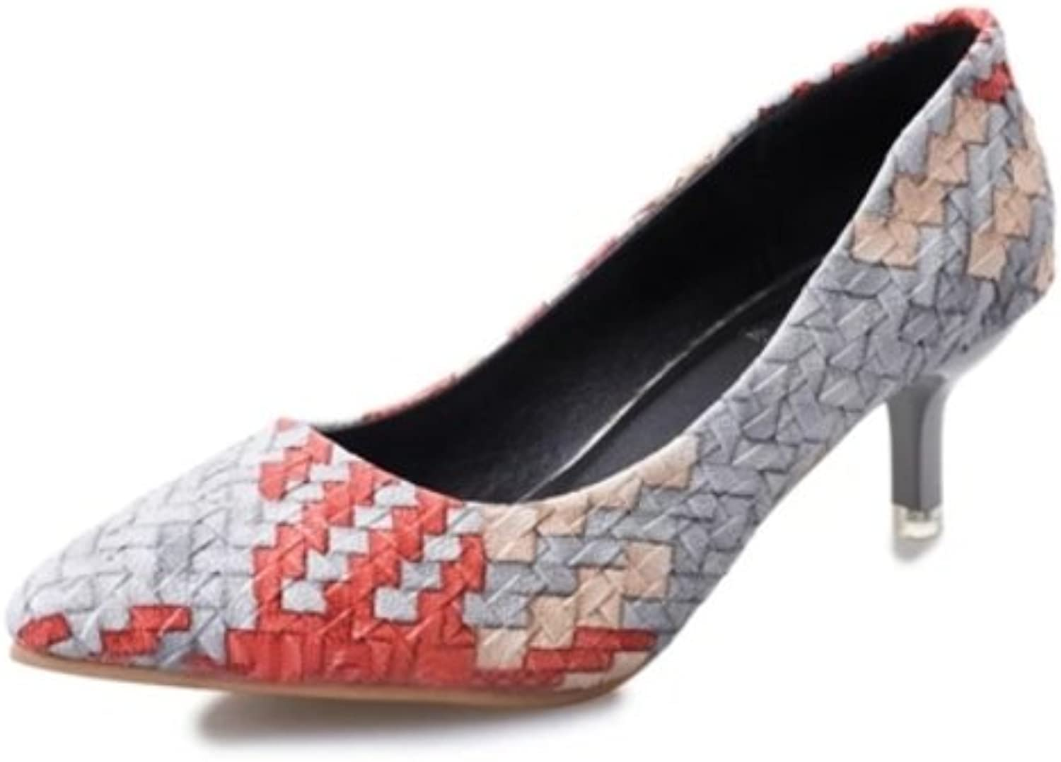 RHFDVGDS In spring and autumn a pointed pale pumps With mixed colors with fine woven in temperament and comfortable work shoes slip-on thin shoes