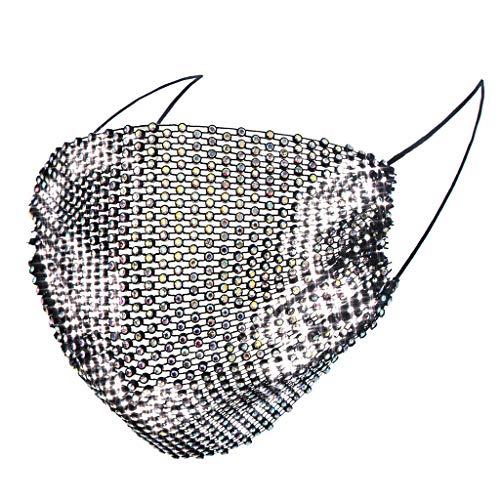Weiqu - Bufandas de joyería de colores degradados para mujer, malla hueca con purpurina y cadena de diamantes de imitación, cubierta brillante para protección al aire libre