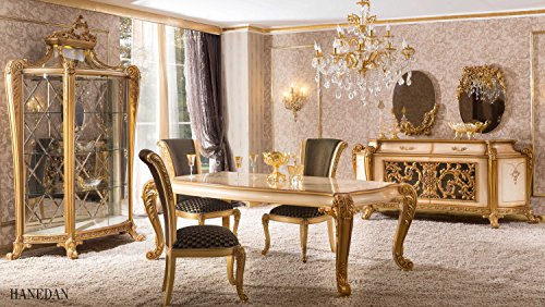 Klassisch luxuriöses Esszimmer set – HANEDAN (1 Esstisch, 6 Esszimmerstühle, 1 Vitrine, 1 Schrank, 2 Spiegel). Farbkombination: Gold, schwarz, dunkelgrün, hellbraun.Classical luxury Diningroomset