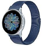 Wanme Correa Compatible con Samsung Galaxy Watch Active/Active 2 40mm 44mm, 20mm Metal Pulsera de Repuesto de Acero Inoxidable para Galaxy Watch 3 41mm / Gear S2 Classic/Gear Sport (Azul Marino)
