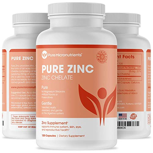 Pure Zinc Supplement, Natural Zinc Glycinate Supplements, (Chelated) 25mg, 120 - Pure Micronutrients …