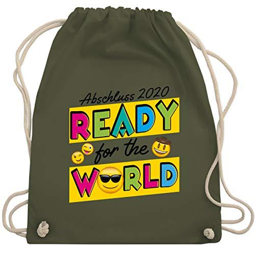 Shirtracer Abi & Abschluss - Emoticon Abschluss 2020 Ready for the World bunt - Unisize - Olivgrün - Statement - WM110 - Turnbeutel und Stoffbeutel aus Baumwolle