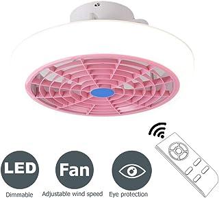 LMYMX Moderno Ventiladores de Techo con Iluminación, Lámpara de Techo Ventilador con Control Remoto, Fan Velocidad del Viento Ajustable, para Sala de Estar Habitación de Niños, Rosa, 60W