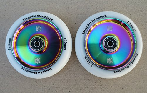 DIS 120mm Hollow Slicks Metal Core Scooter Wheels - 2 Neochrome Wheels with ABEC Rated Bearings and spacers Installed