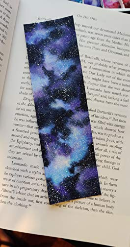 Galaxy Watercolor Bookmark - Hand Painted on Specialty Paper with a Clear Sleeve. Perfect for Books, Bibles, Diaries, Journals, and More - 7 Inch x 2 Inch.