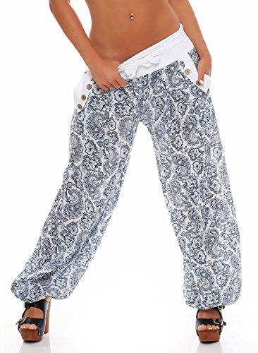 Malito Damen Pumphose mit Orient Print | leichte Stoffhose | Freizeithose für den Strand | Haremshose - luftig 3488 (weiß)