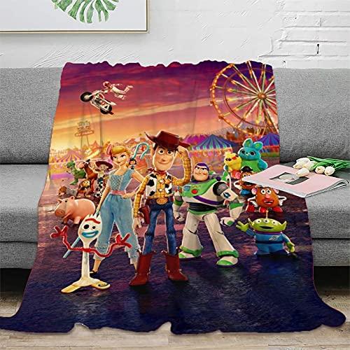 DRAGON VINES Cartoon-Decke Toy Story Woody Buzz Bo Peep Reisedecke, superweiche Kinderdecken, 150 x 200 cm