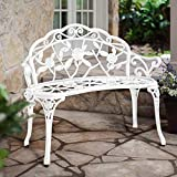 HOMEFUN Patio Outdoor Bench, White Cast-Aluminum Benches Garden Metal Loveseat Outdoor Furniture for Park Lawn Front Porch