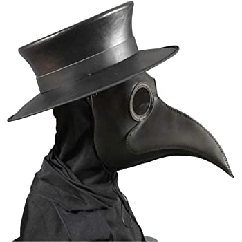 Amazon Com Hibiretro Steampunk Plague Doctor Half Face Mask For Adults And Kids Medieval Bubonic Plague Dr Leather Masks For Masquerade Cosplay Halloween Costume Black Clothing