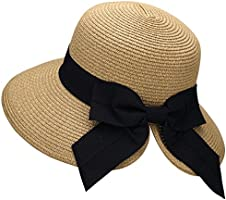 Verabella Women's Lightweight Foldable/Packable Beach Sun Hat w/Decorative Bow