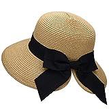 Verabella Womens Straw Hat Beach Hat Lightweight Womens Hats Fashion Summer Foldable/Packable Floppy Hats for Women Fashionable Womens Beach Hat,Nature