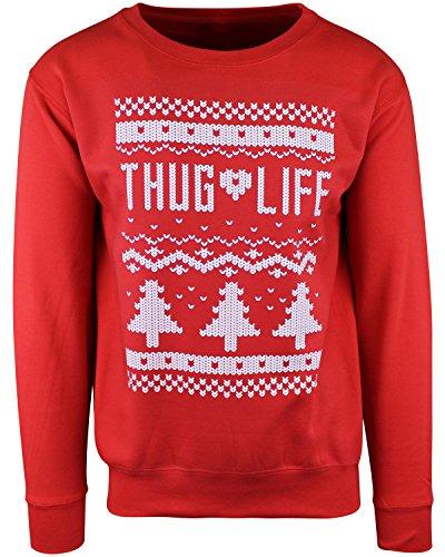 ShirtBANC Thug Life Ugly Xmas Sweater Funny Christmas Sweatshirt - Rot - Groß