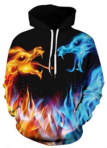 GLUDEAR Men's Realistic 3D Digital Print Pullover Hoodie Hooded Sweatshirt,Galaxy Flame Dragon,L/XL