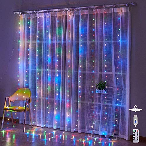 300L Led Curtain String Lights for Bedroom Deco Wedding Party Christmas Indoor/ Outdoor Decoration USB Hanging Light with Remote Control【RGB-300LED】