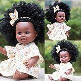Poupées Fille Noire Poupées Noires pour Enfants, poupées de Jeu Afro-américaines réalistes 35 cm poupées de Jeu pour bébé, Meilleur Cadeau d'anniversaire pour Enfants garçons Filles Tout-Petits