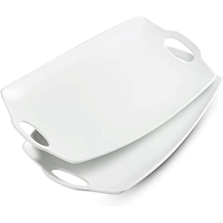 LAUCHUH Serving Tray with Handle Exrta Large Porcelain Serving Platter Perfet for Display 16-Inch White