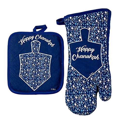 Rite Lite Chanukah Mosaic Two Piece Chanukah Hostess Set, Comes with Pot Holder and Oven Mitt, Great Hanukkah Cooking Gift!