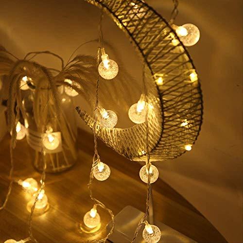 CFLFDC ljusslinga LED bubbel boll lampa slinga transparent kristallboll dekorativ färg ljus 5 m 28 ljus åtta funktion kontroll varm vit