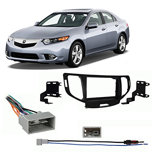 Compatible with Acura TSX 2009 2010 2011 2012 2013 2014 Without NAV Double DIN Stereo Harness Radio Install Dash Kit Package