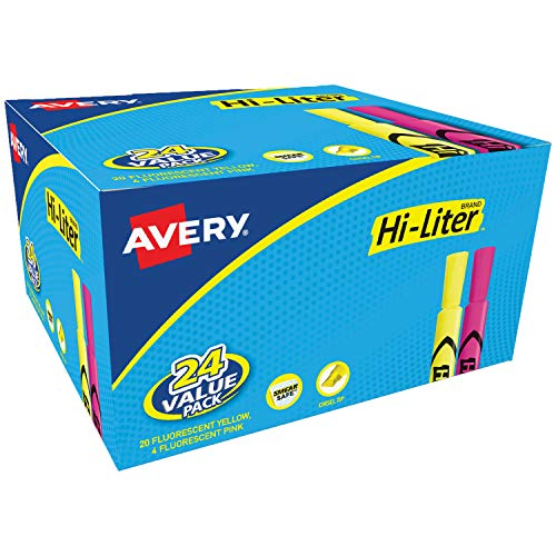 Avery Hi-Liter Desk-Style Highlighters, Smear Safe Ink, Chisel Tip, 24 Assorted Color Highlighters (98189)