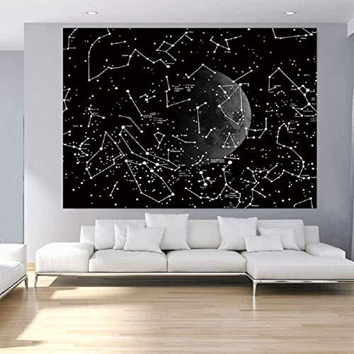 JEANGO Tapiz del Universo Estrellado decoración de Pared Toalla de Playa fotografía Fondo Tela Dormitorio Dormitorio Tela Colgante Galaxia Negra