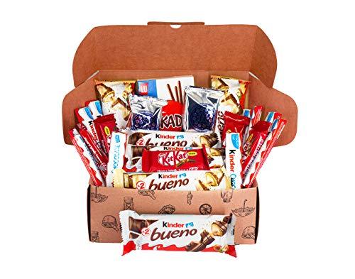 Caja regalo de bombones y chocolates - Kinder Bueno, Kinder Chocolate, Mikado, Mini KitKat, Oreo bañadas, Kinder bueno blanco. Regalo original para cumpleaños, navidad y San Valentín