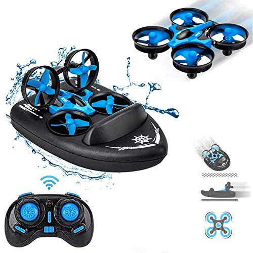 Mini Drone 3 in 1 RC Boat Beginners Indoor Remote Control Car Small Helicopter Plane for Kids(Blue)