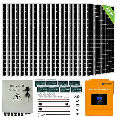ECO-WORTHY 4KW 16KWH 48V Complete Solar Power System Kit Off Grid Solar Panel Kit with 3500W 48V All-in-one Solar Charge Inverter and 20pcs 195W Solar Panel and 8pcs 100AH Battery and Combiner Box