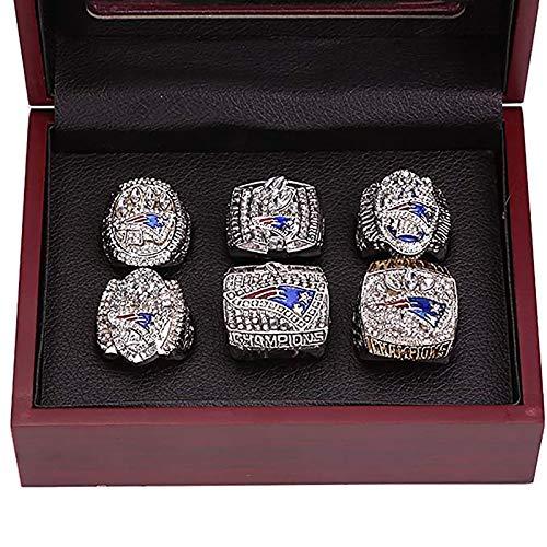 EIN Weihnachtsüberraschungsgeschenk, New England Patriots 6 Jahre Ringe Set, Super Bowl 2019-2001 Meisterschaft Replik Ringe Souvenirs mit Holzkiste-11-With Box