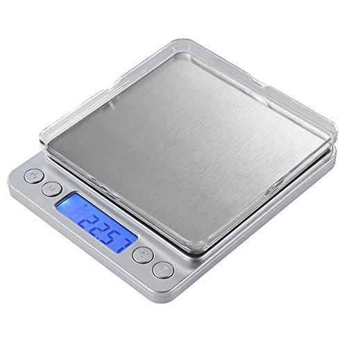 Vantskitt balance électronique haute précision ? 3000 g x 0.1 g balance de cuisine en acier inoxydable Mini Pocket balance de bijoux balance de café ? Sliver