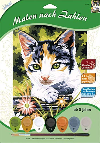 MAMMUT 105018 – malowanie według liczb, motyw zwierzęcy, kot, kompletny zestaw z drukowanym szablonem do malowania w formacie A4, 7 farb akrylowych i pędzli, zestaw do malowania dla dzieci od 8 lat