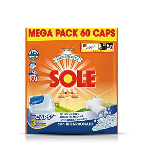 Sole Gelcaps Bianco Splendente, Detersivo Lavatrice in Capsule, Pastiglie Lavatrice, Tripla Azione, 1 Confezione da 60 Lavaggi