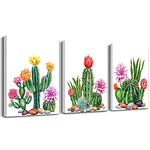 Green plants cactus Watercolor painting Canvas Wall Art for living room Canvas Prints Artwork bathroom Wall Decor 3 Pieces Framed kitchen bedroom wall decorations Office Home Decoration Picture