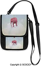 SCOCICI Elephant in the Sky with Crossbody Bag Pouch Wallet for Travel