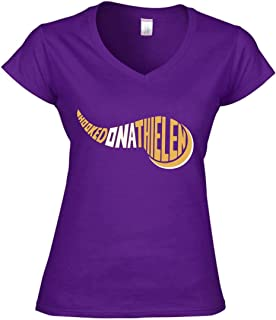 Purple Minnesota Thielen Hooked on Ladies V-Neck T-Shirt