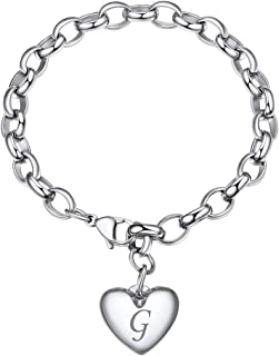 GoldChic Jewellery Braccialetti con ciondoli a Forma di Lettera con Gioielli in Oro per Donna, Bracciale a Catena in Accia...