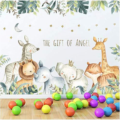 Stickers muraux de bande dessinée pour chambres d'enfants Girafe Lion Fox éléphant Animal Accueil Stickers pépinière Maternelle chambre de bébé Home Decor 96 * 56 Cm