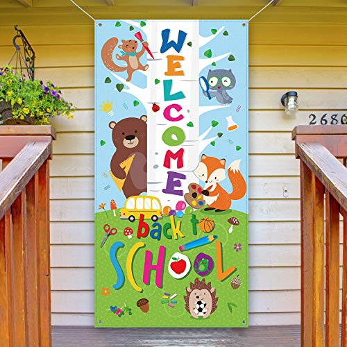 Welcome Back To School Banner, First Day of School Door Cover Woodland Animal Friends Photo Backdrop for Classroom School Party Decorations Supplies with Rope