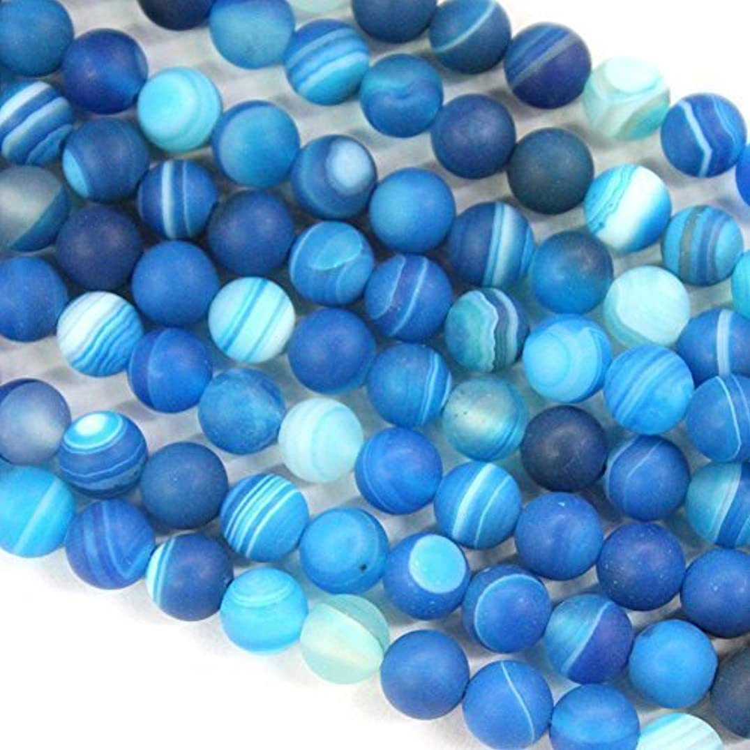 Natural Forsted Unpolished Blue Banded Agate Round Loose Beads Gemstone Beads (8mm)