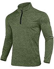 KEFITEVD Camiseta deportiva para hombre con media cremallera, transpirable, de forro polar, cuello alto, manga larga, elástica, para gimnasio, running