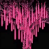 Roytong Waterproof Cascading LED Meteor Shower Rain Lights Outdoor for Holiday Party Wedding Christmas Tree Party Tree Decoration Birthday Gift (Red, 11.8)