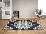 Oedim Alfombra Mandala Floral Indio para Habitaciones PVC | 95 x 200 cm | Moqueta PVC | Suelo vinílico | Decoración del Hogar | Suelo Sintasol | Suelo de Protección |